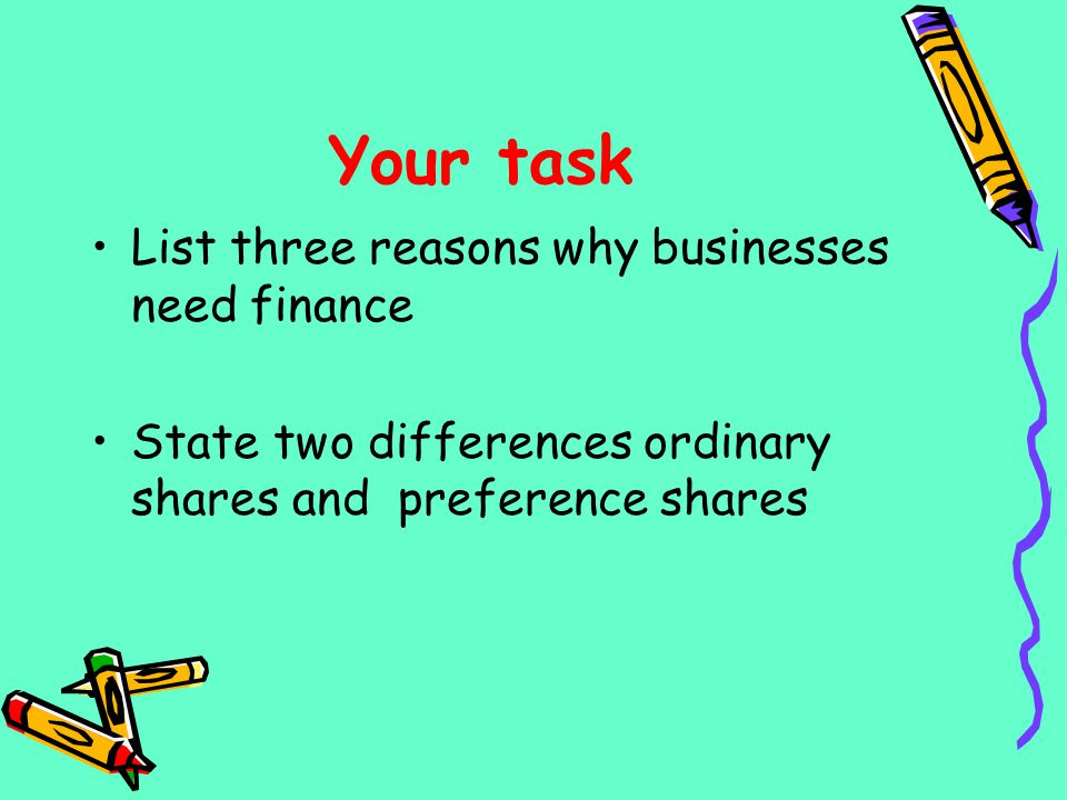 Your task List three reasons why businesses need finance