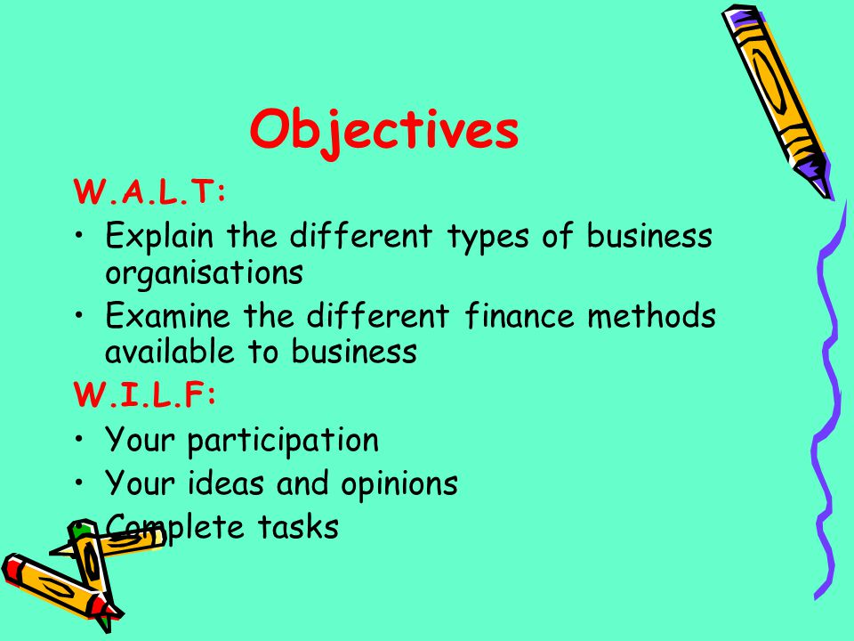 Objectives W.A.L.T: Explain the different types of business organisations. Examine the different finance methods available to business.
