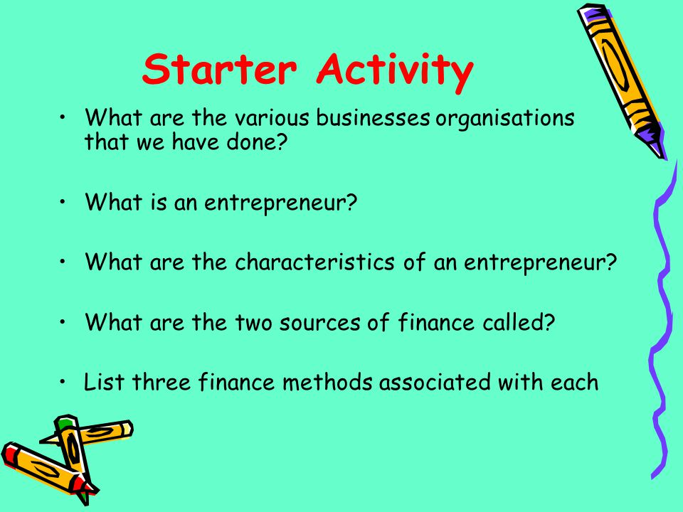 Starter Activity What are the various businesses organisations that we have done What is an entrepreneur