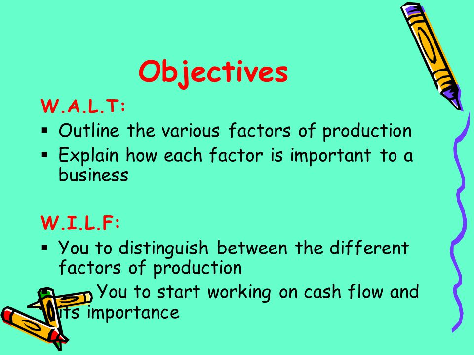 Objectives W.A.L.T: Outline the various factors of production
