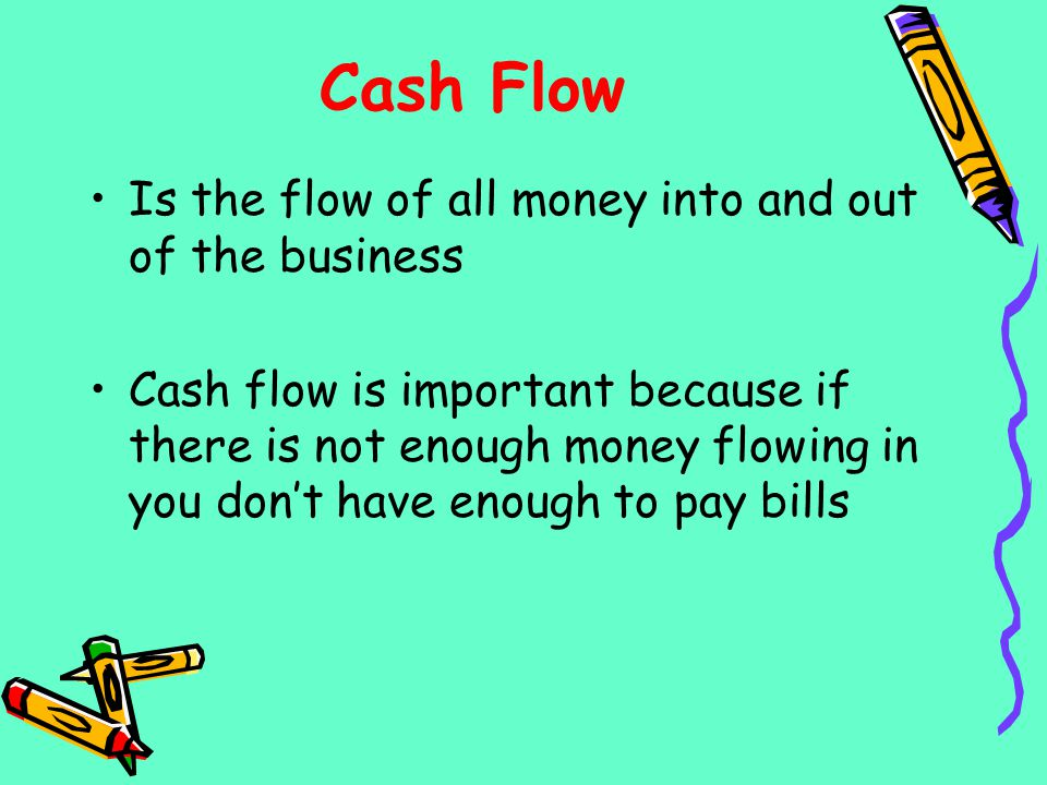 Cash Flow Is the flow of all money into and out of the business
