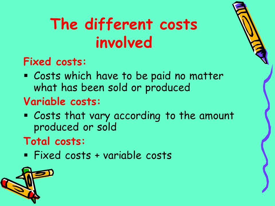 The different costs involved
