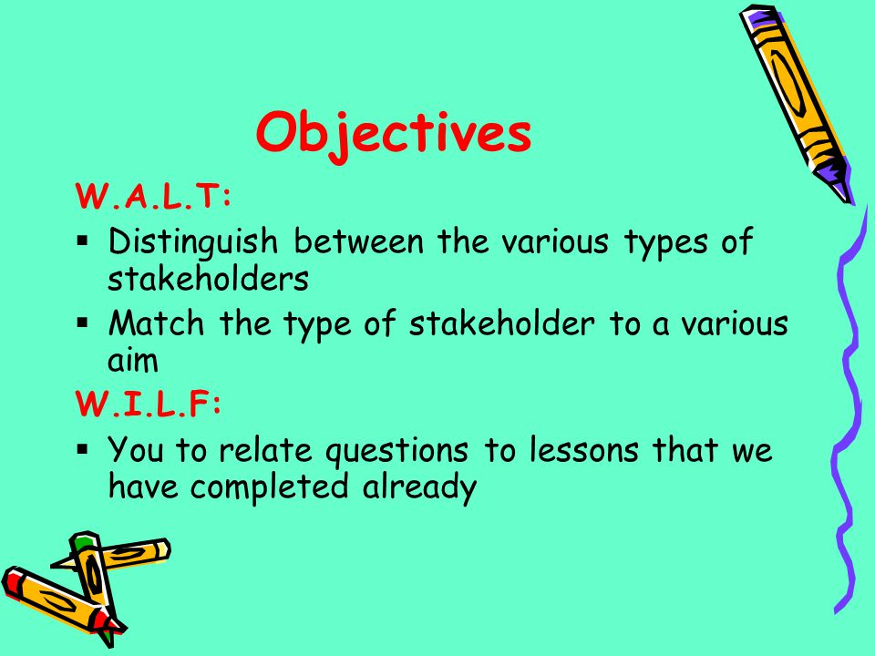 Objectives W.A.L.T: Distinguish between the various types of stakeholders. Match the type of stakeholder to a various aim.