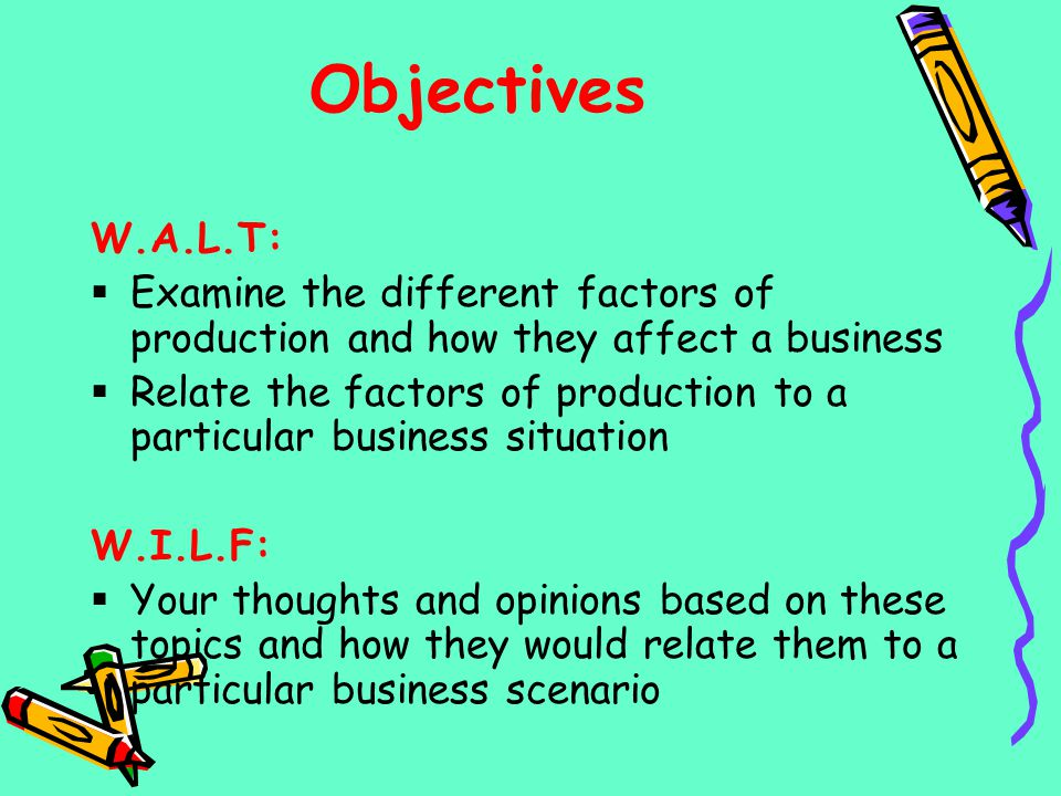 Objectives W.A.L.T: Examine the different factors of production and how they affect a business.