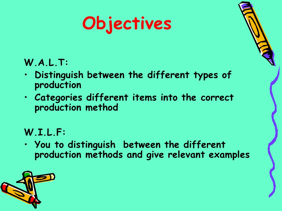 Objectives W.A.L.T: Distinguish between the different types of production. Categories different items into the correct production method.