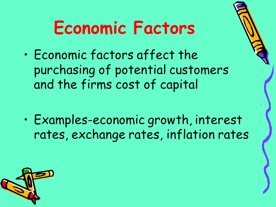 Economic Factors Economic factors affect the purchasing of potential customers and the firms cost of capital.