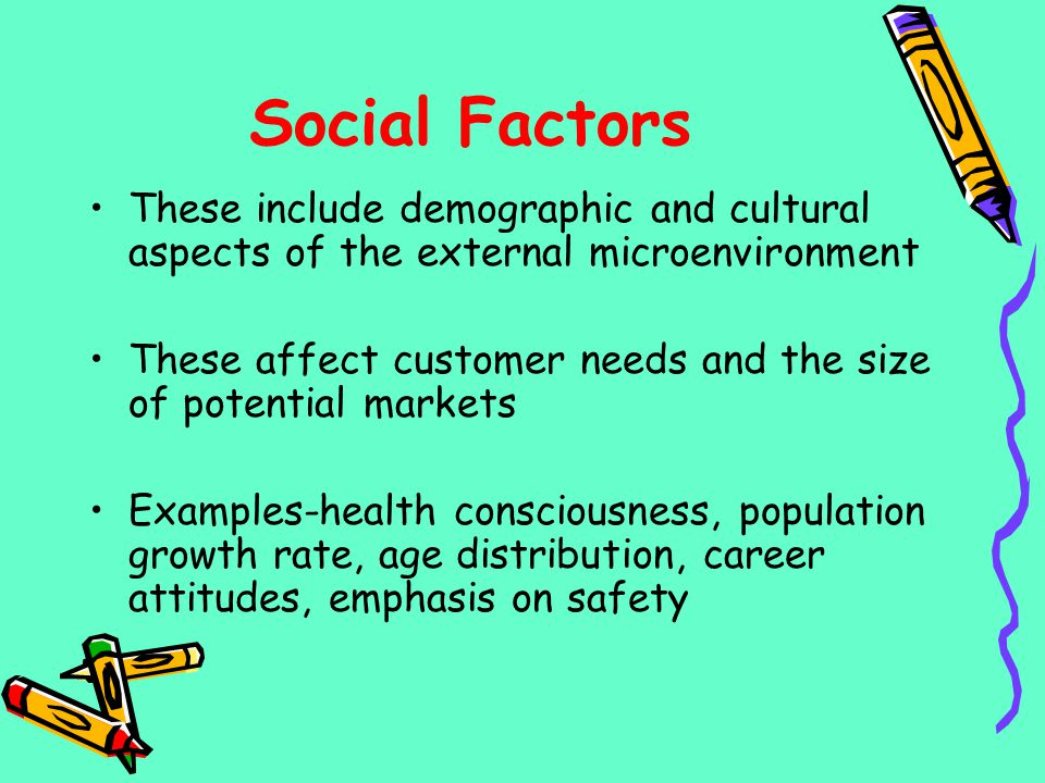 Social Factors These include demographic and cultural aspects of the external microenvironment.