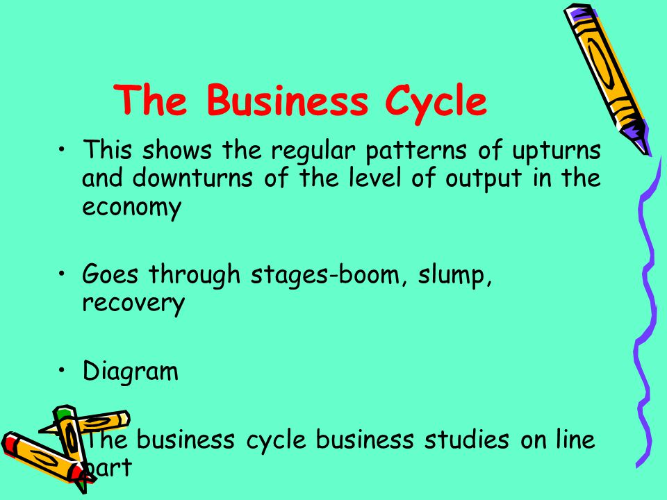 The Business Cycle This shows the regular patterns of upturns and downturns of the level of output in the economy.