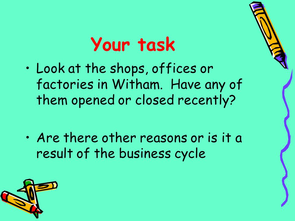Your task Look at the shops, offices or factories in Witham. Have any of them opened or closed recently