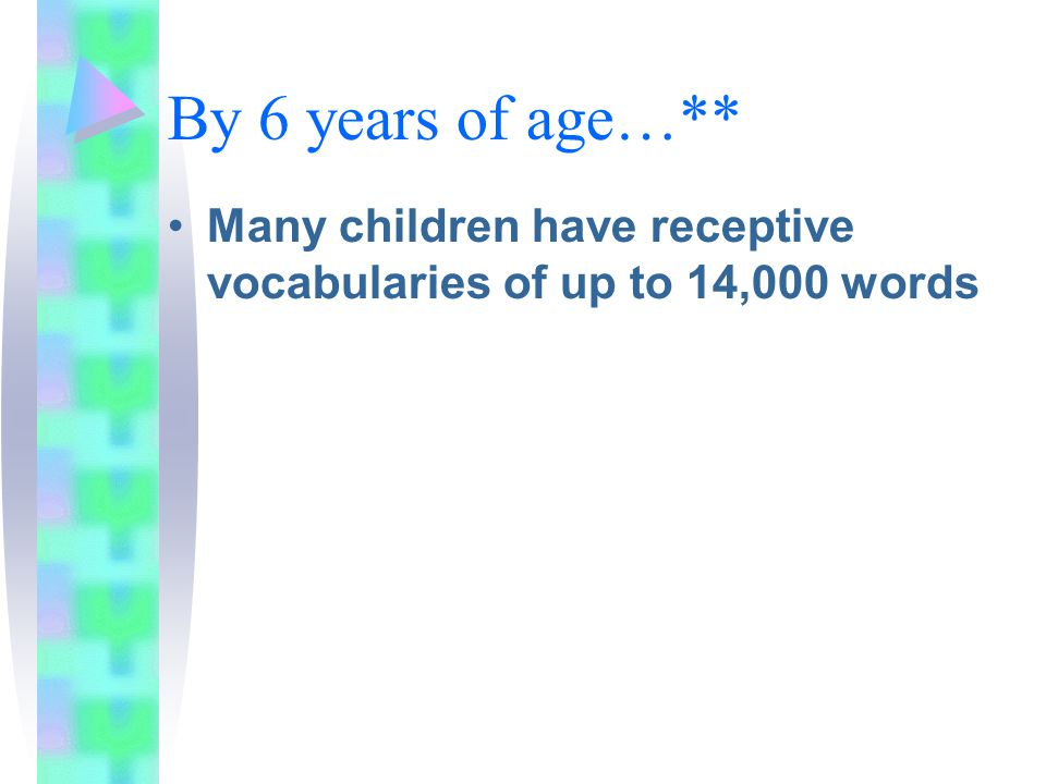 By 6 years of age…** Many children have receptive vocabularies of up to 14,000 words