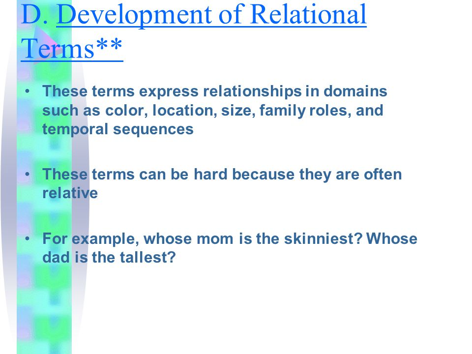D. Development of Relational Terms**