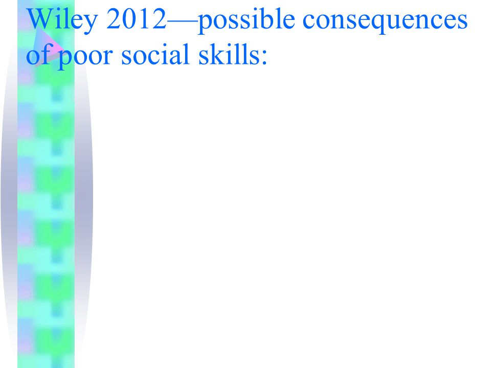 Wiley 2012—possible consequences of poor social skills: