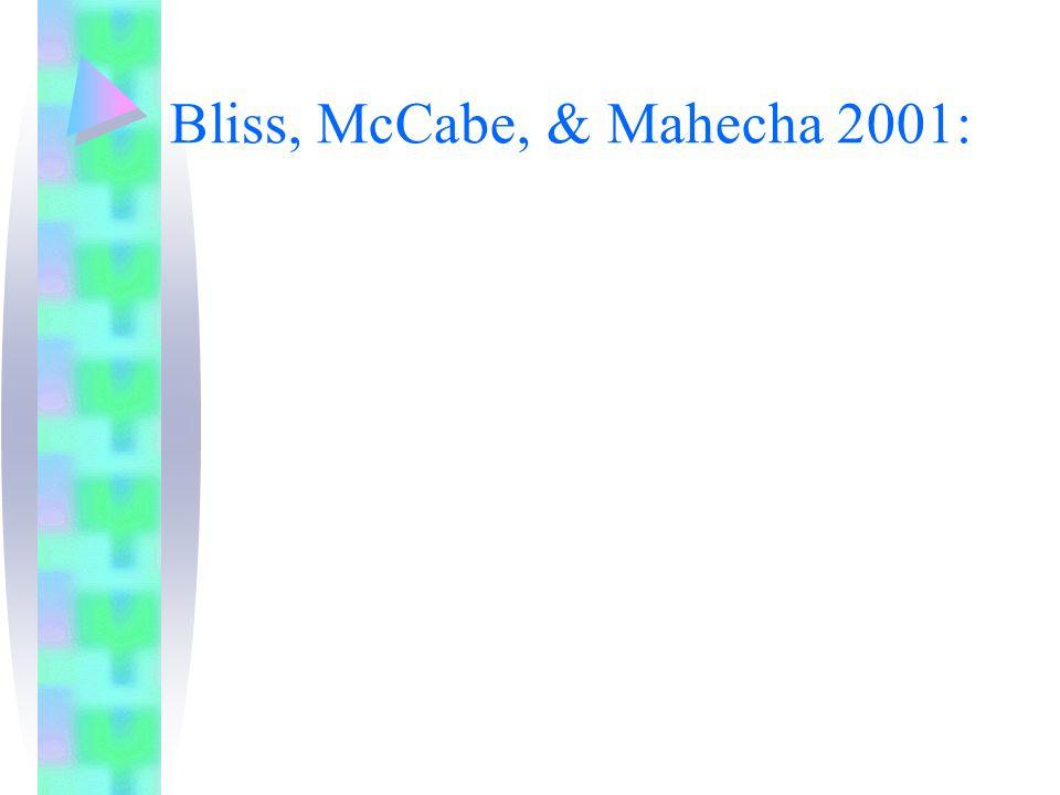 Bliss, McCabe, & Mahecha 2001: