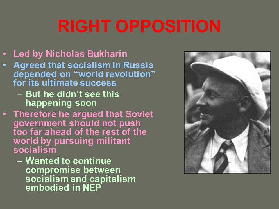 RIGHT OPPOSITION Led by Nicholas Bukharin