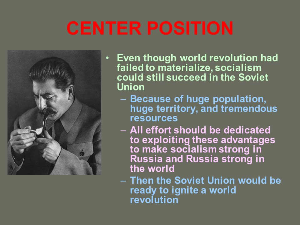 CENTER POSITION Even though world revolution had failed to materialize, socialism could still succeed in the Soviet Union.