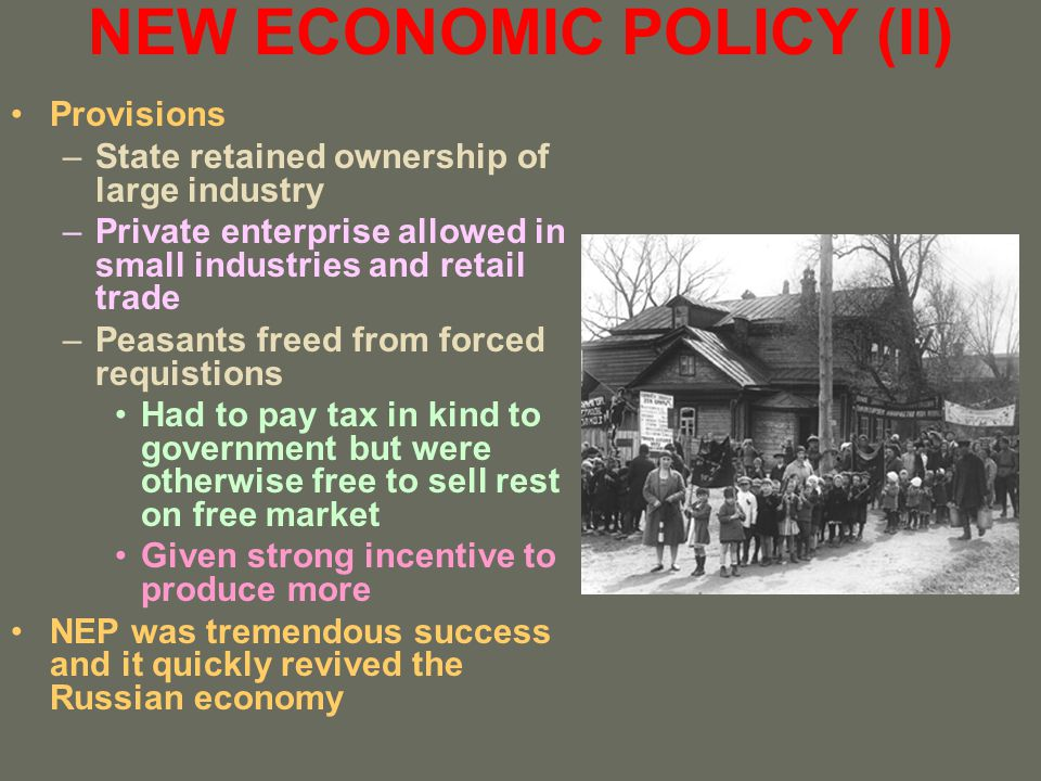 NEW ECONOMIC POLICY (II)