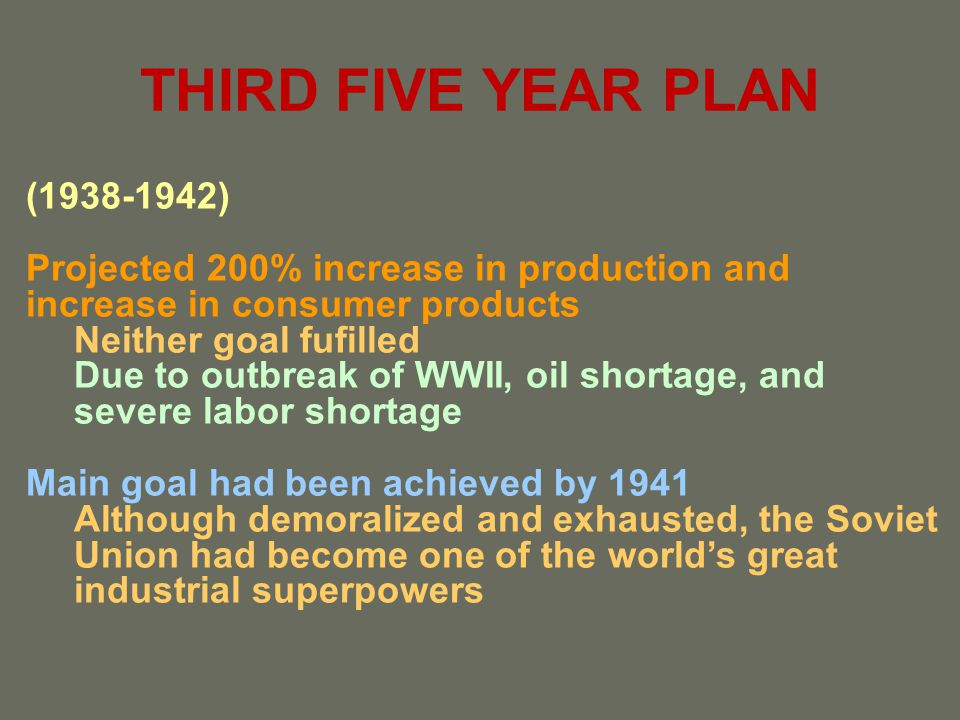 THIRD FIVE YEAR PLAN (1938-1942)