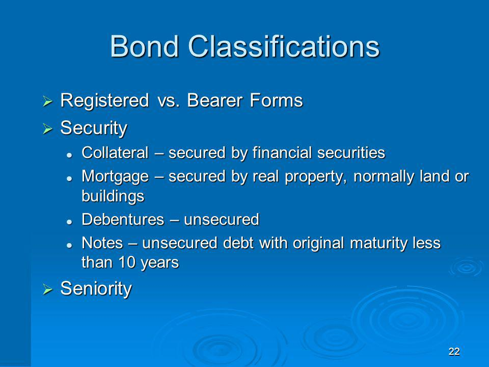 Bond Characteristics and Required Returns