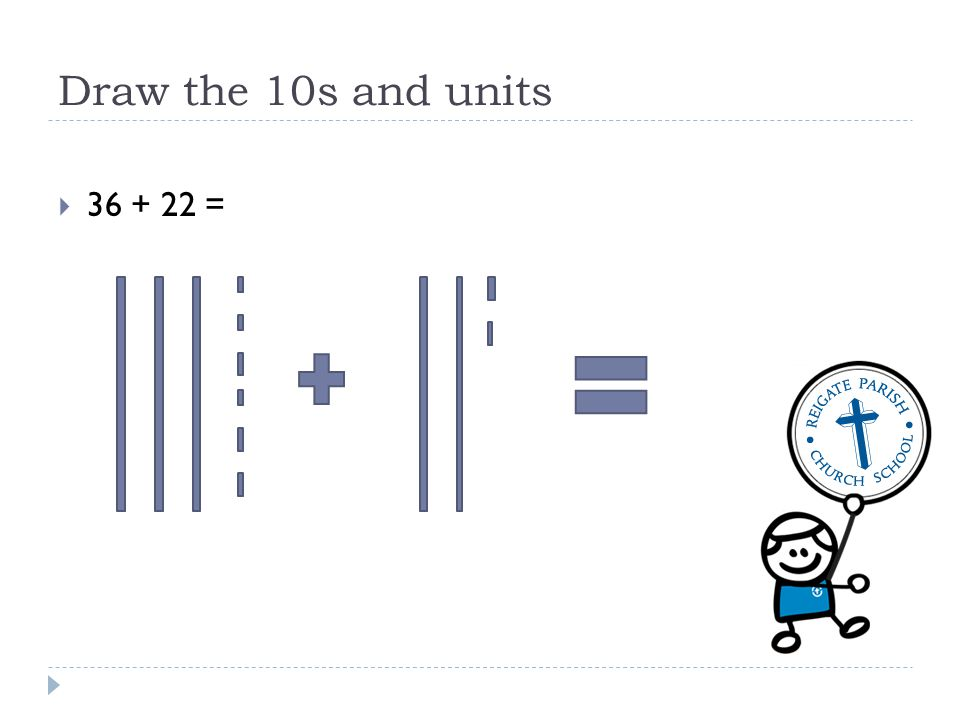 Draw the 10s and units 36 + 22 =