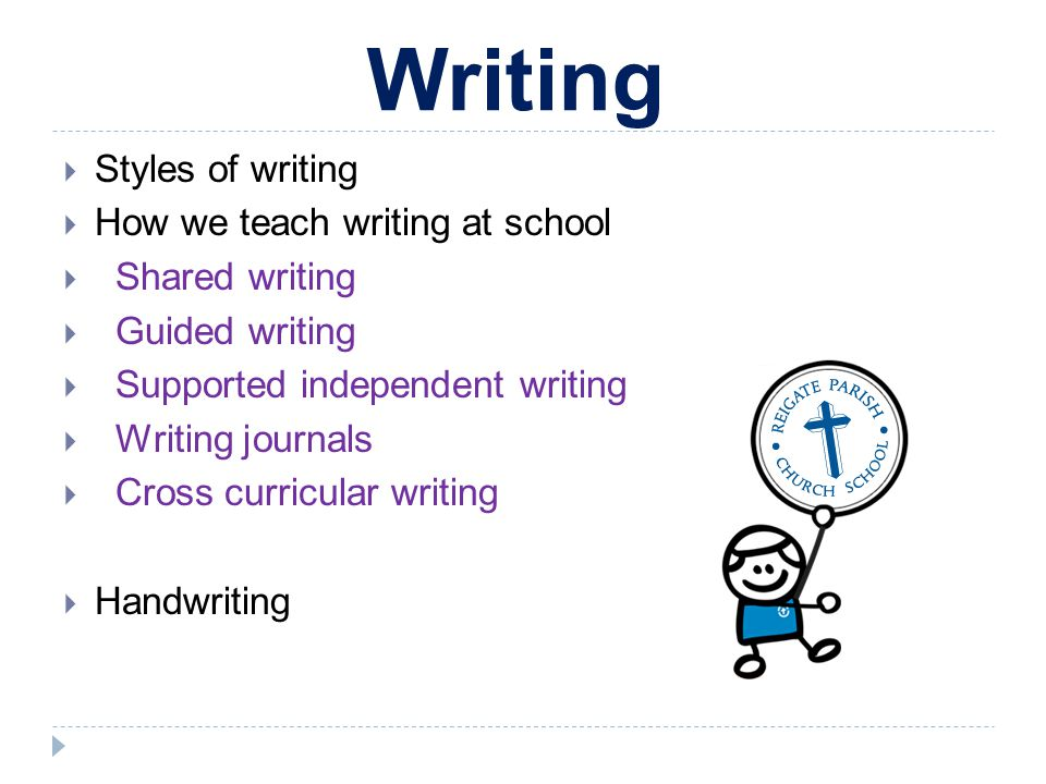 Writing Styles of writing How we teach writing at school