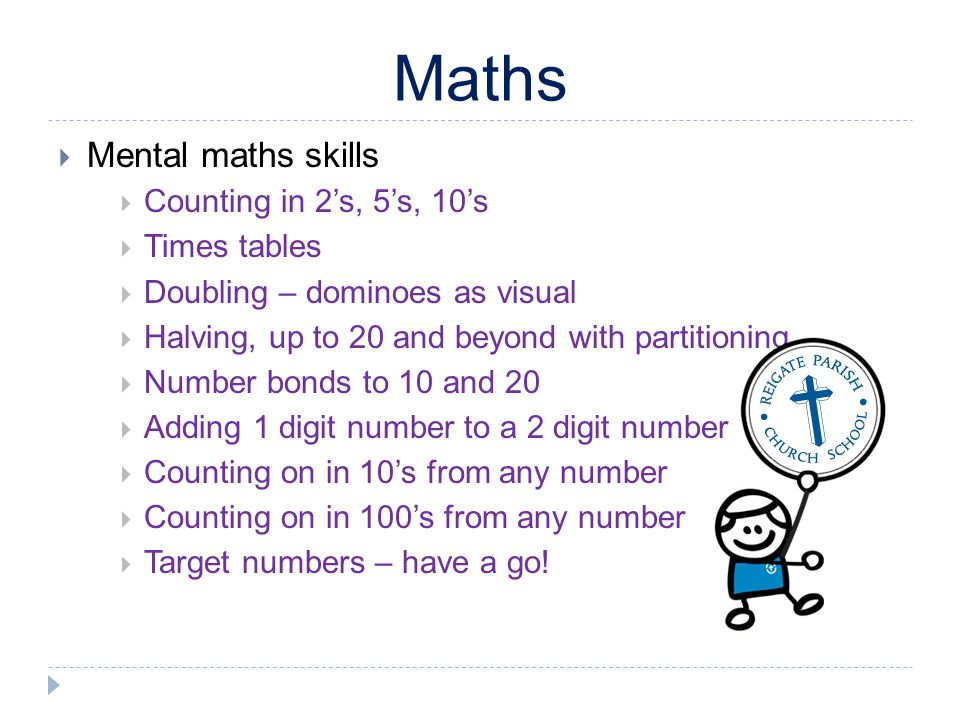 Maths Mental maths skills Counting in 2's, 5's, 10's Times tables