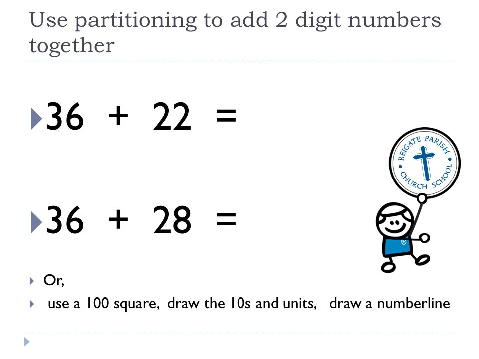 Use partitioning to add 2 digit numbers together