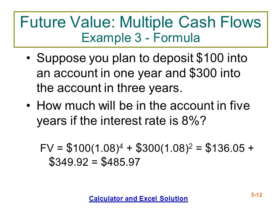 Future Value: Multiple Cash Flows Example 3 - Formula