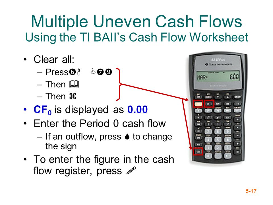 Multiple Uneven Cash Flows Using the TI BAII's Cash Flow Worksheet