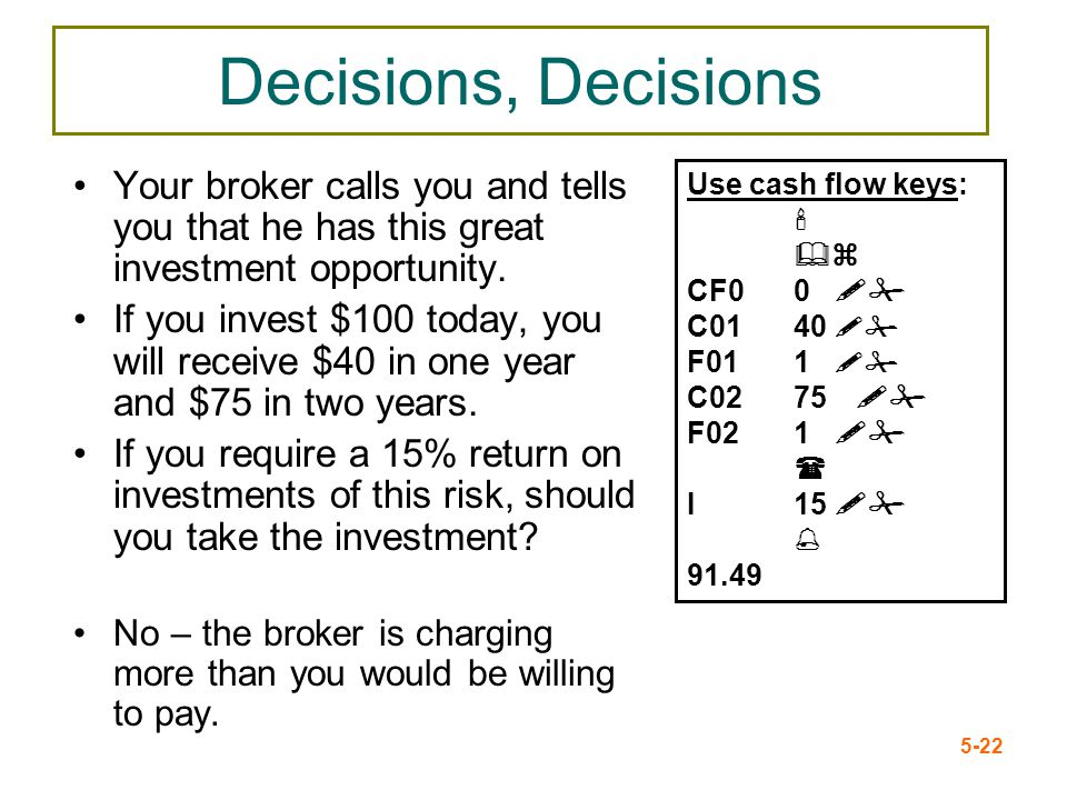 Decisions, Decisions Your broker calls you and tells you that he has this great investment opportunity.