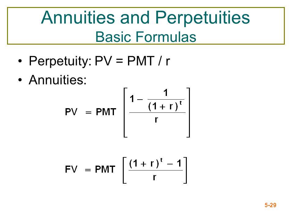 Annuities and Perpetuities Basic Formulas