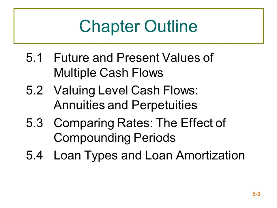 Chapter Outline 5.1 Future and Present Values of Multiple Cash Flows