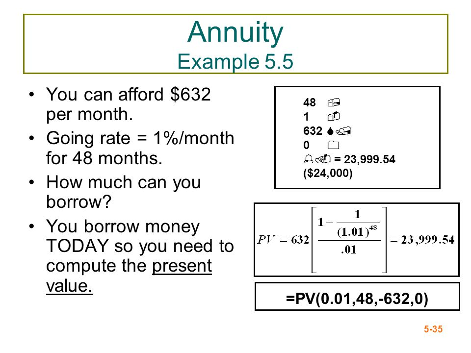 Annuity Example 5.5 You can afford $632 per month.