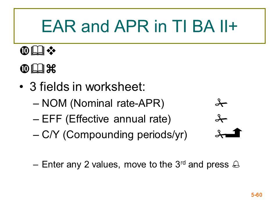 EAR and APR in TI BA II+ &v &z 3 fields in worksheet: