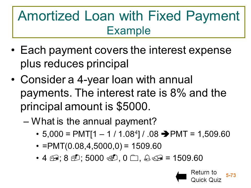 Amortized Loan with Fixed Payment Example