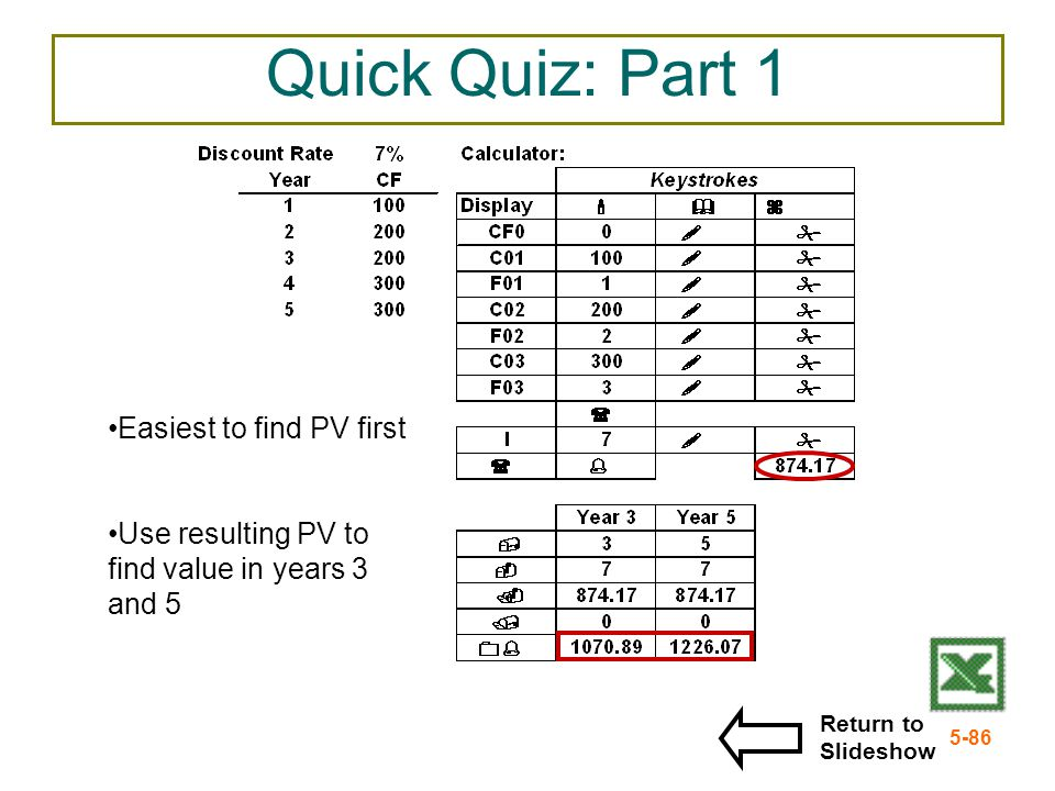 Quick Quiz: Part 1 Easiest to find PV first
