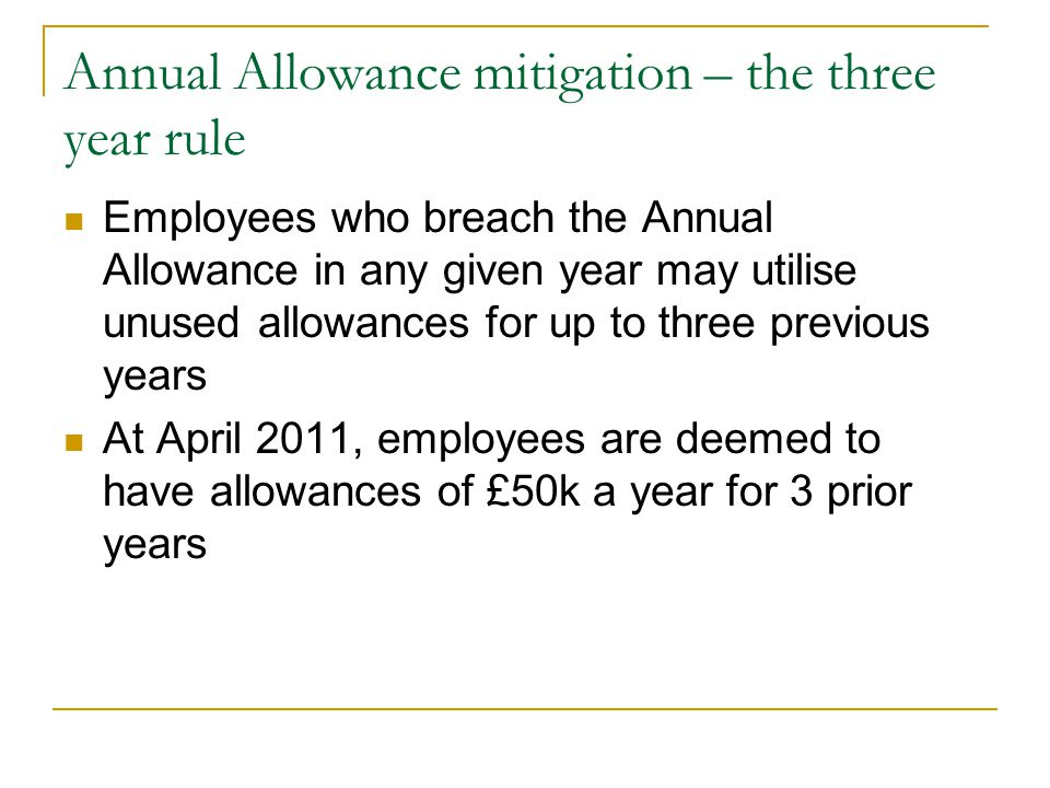 Annual Allowance mitigation – the three year rule