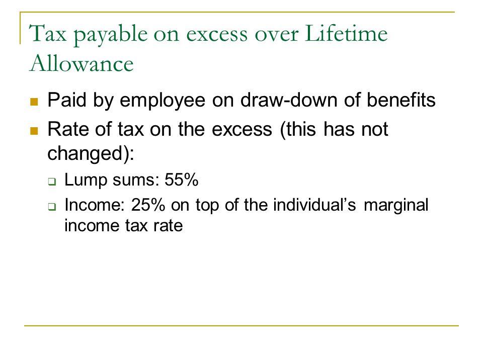 Tax payable on excess over Lifetime Allowance