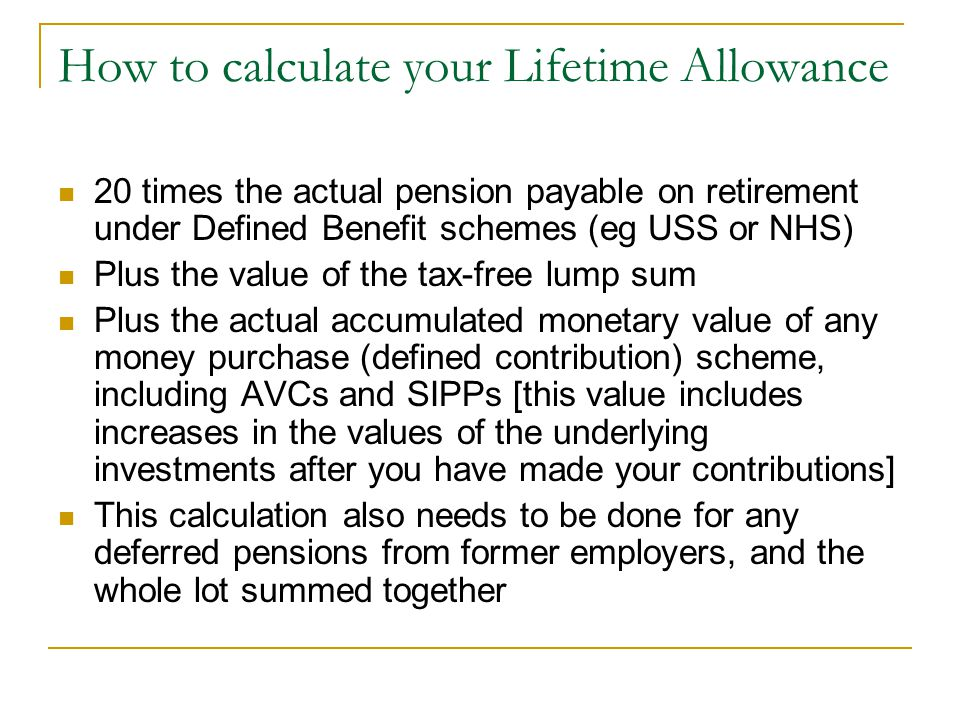 How to calculate your Lifetime Allowance