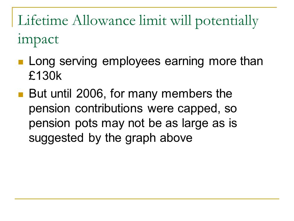 Lifetime Allowance limit will potentially impact