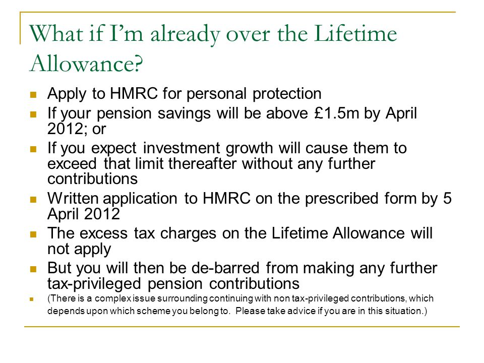 What if I'm already over the Lifetime Allowance