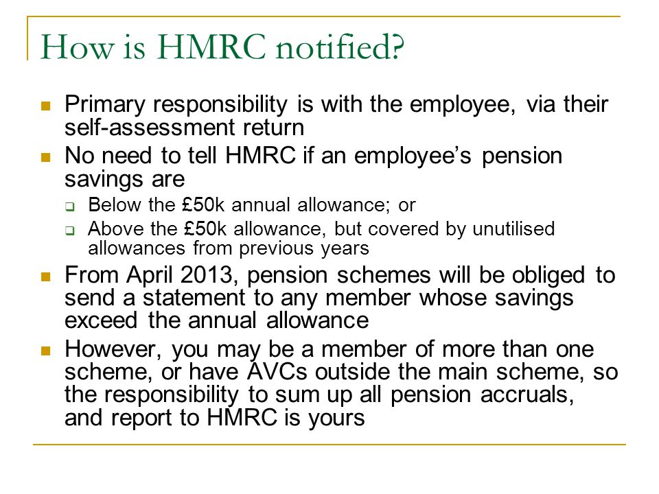 How is HMRC notified Primary responsibility is with the employee, via their self-assessment return.