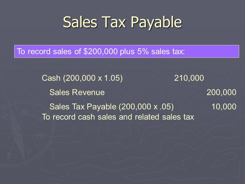 Sales Tax Payable To record sales of $200,000 plus 5% sales tax: