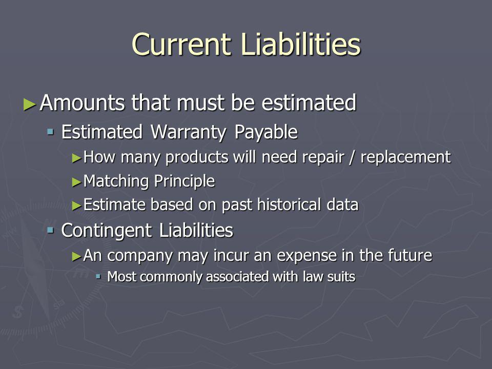Current Liabilities Amounts that must be estimated