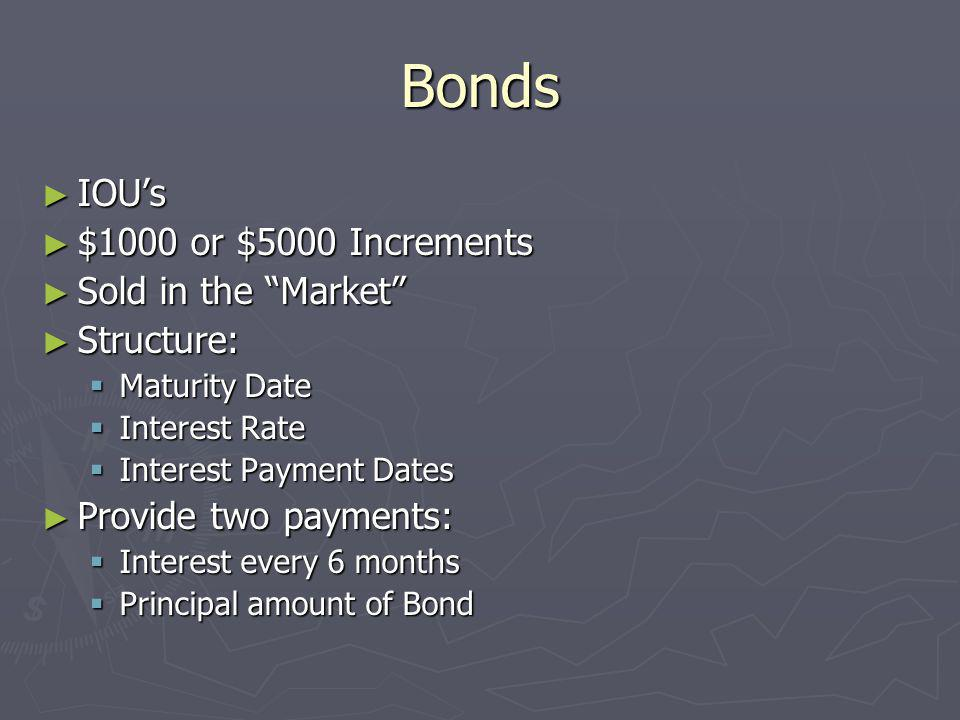 Bonds IOU's $1000 or $5000 Increments Sold in the Market Structure: