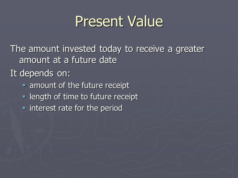 Present Value The amount invested today to receive a greater amount at a future date. It depends on: