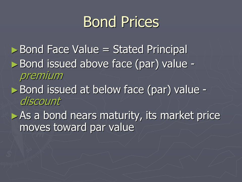 Bond Prices Bond Face Value = Stated Principal