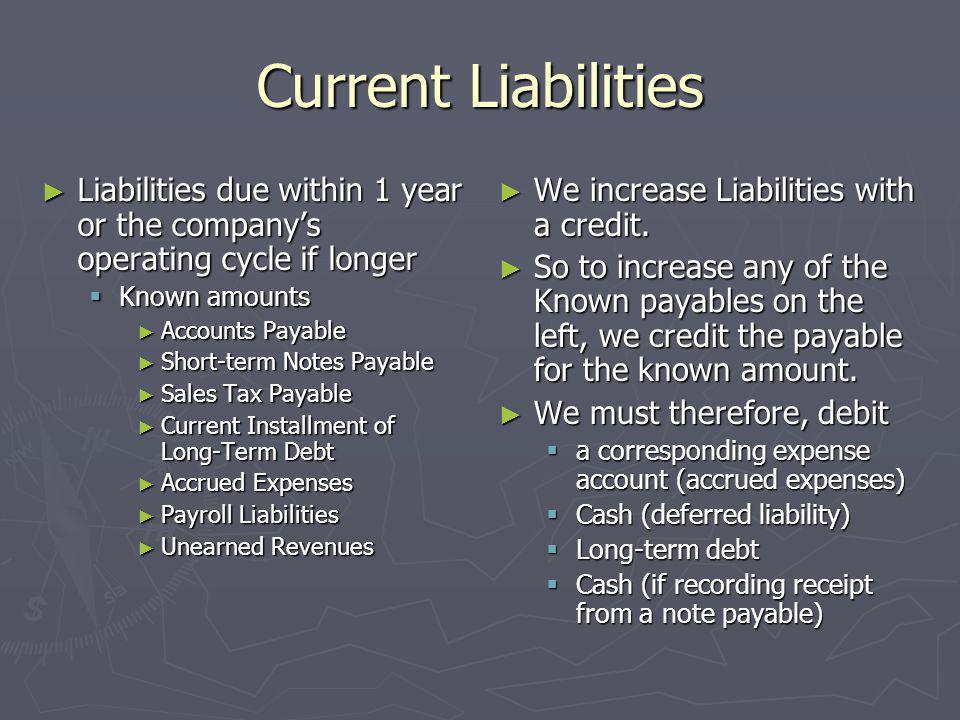 Current Liabilities Liabilities due within 1 year or the company's operating cycle if longer. Known amounts.