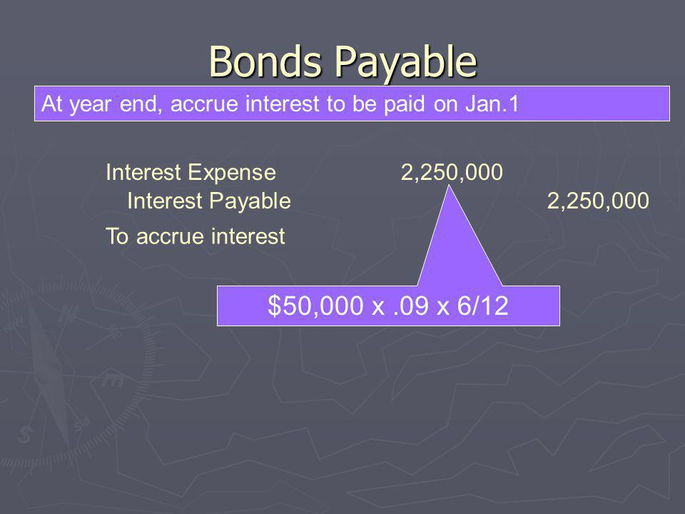 Bonds Payable At year end, accrue interest to be paid on Jan.1. Interest Expense 2,250,000. Interest Payable 2,250,000.