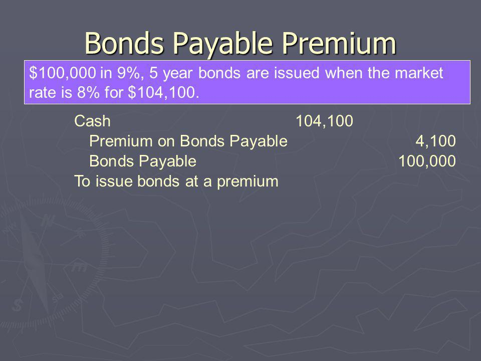 Bonds Payable Premium $100,000 in 9%, 5 year bonds are issued when the market rate is 8% for $104,100.