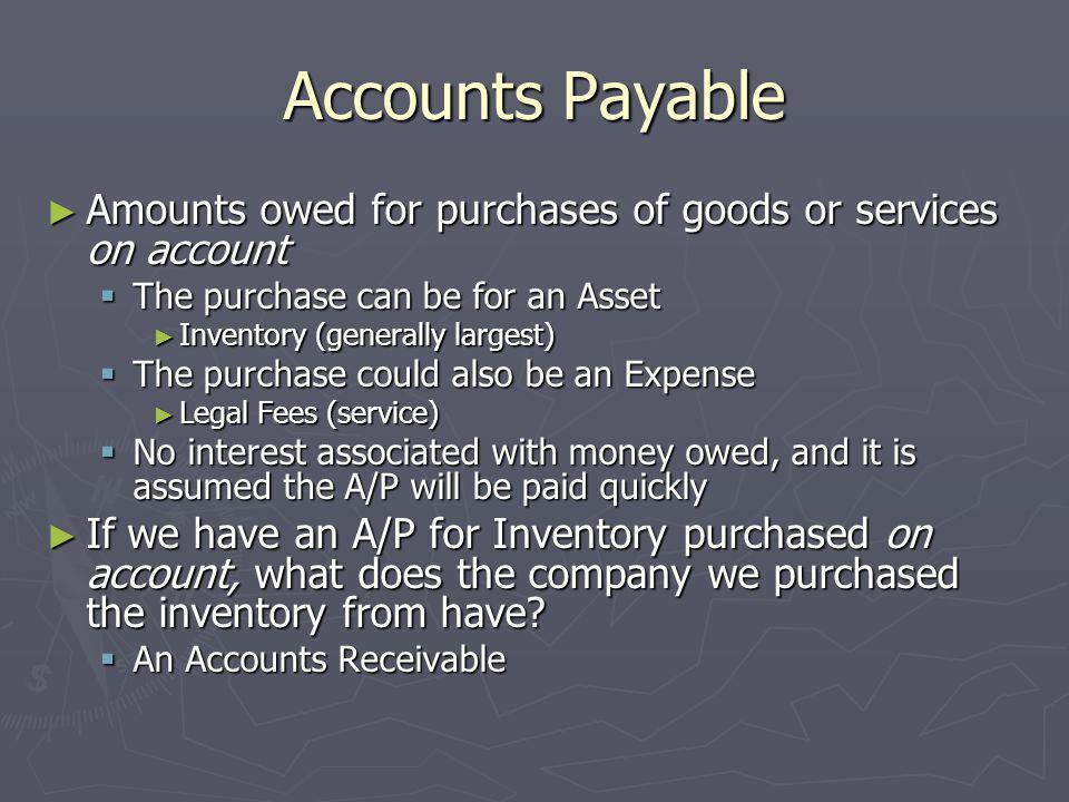 Accounts Payable Amounts owed for purchases of goods or services on account. The purchase can be for an Asset.